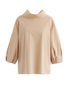 Bow-Neck Puff Sleeves Smock Top in Tan
