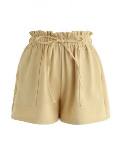 PaperBag-Waist Pockets Shorts in Mustard