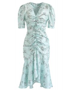 Flounced Hem Drawstring Floral Dress in Mint