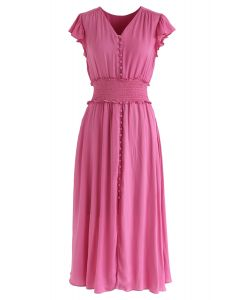 Shirred Button Down Ruffle Dress in Hot Pink