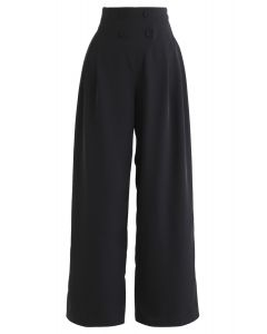 Button Embellished Wide-Leg Pants in Black