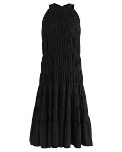 Bowknot Pleated Halter Dress in Black