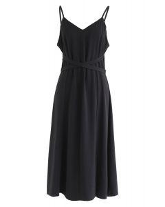 Split Shift Adjustable Cami Dress in Black
