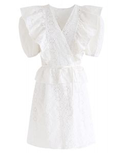 Zigzag Eyelet Floral Embroidered Wrap Dress