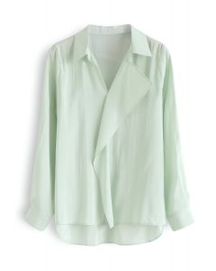 Hi-Lo Hem V-Neck Ruffle Front Shirt in Mint