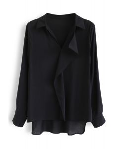 Hi-Lo Hem V-Neck Ruffle Front Shirt in Black