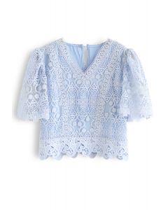 V-Neck Crochet Mesh Cropped Top in Blue