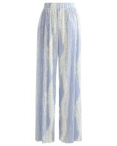 Contrast Color Print Pleated Wide-Leg Pants in Blue