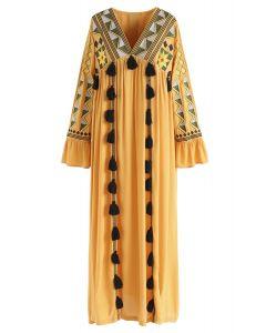 Geometric Embroidered Tassel Boho Maxi Dress in Mustard