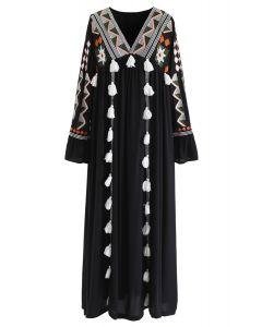 Geometric Embroidered Tassel Boho Maxi Dress in Black