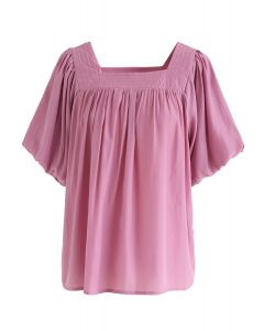 Square Neck Puff Sleeves Top in Pink