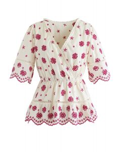 Floral Broderie Anglaise Wrap Peplum Top in Berry