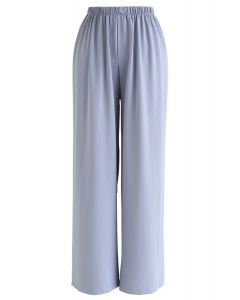 Sleek Wide-Leg Buttoned Crop Pants in Baby Blue