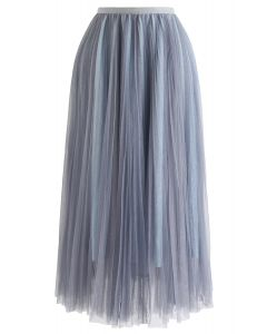 Glittering Mesh Pleated Midi Skirt in Dusty Blue