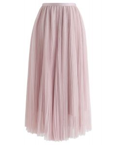 Glittering Mesh Pleated Midi Skirt in Pink