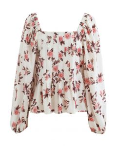 Rosebud Bubble-Sleeve Square Neck Ruffle Top