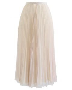 Reversible Pleated Midi Skirt in Sand