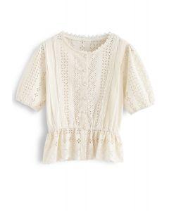 Eyelet Embroidery Crochet Peplum Top in Cream