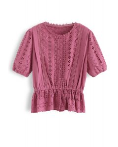 Eyelet Embroidery Crochet Peplum Top in Berry