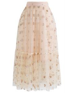 Shimmer Heart Print Double-Layered Mesh Midi Skirt