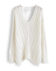 V-Neck Hollow Out Knit Top in White