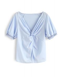 Twisted V-Neck Top in Sky Blue