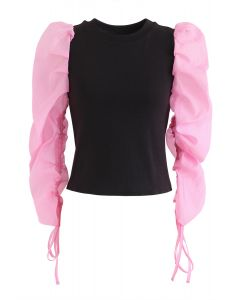 Pinky Drawstring Bubble Sleeves Top