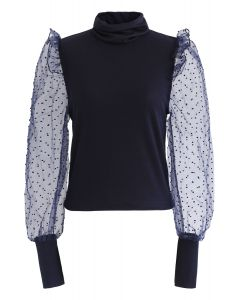 Flock Dots Organza Sleeves Turtleneck Top in Navy