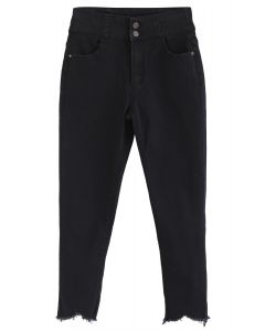 High-Waisted Frayed Hem Skinny Jeans in Black