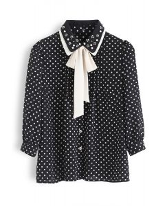 Polka Dots Bowknot Neck Button Down Top