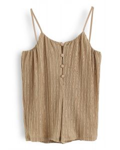 Golden Stripes Buttoned Wide-Leg Cami Jumpsuit For Kids