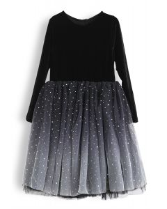 Velvet Sequined Double-Layered Mesh Dress For Kids in Black
