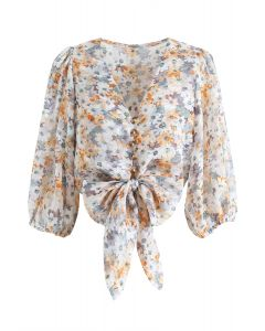 Flower Field Jacquard Bowknot Crop Top