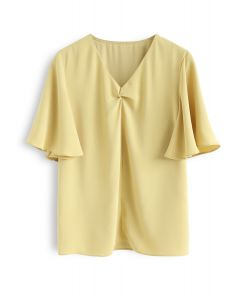 Flare Sleeves Front Twisted Top in Yellow
