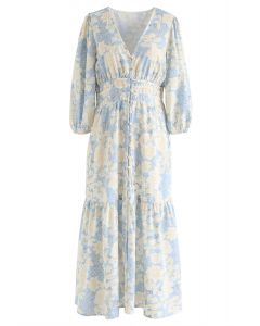 Floral V-Neck Button Down Frilling Dress