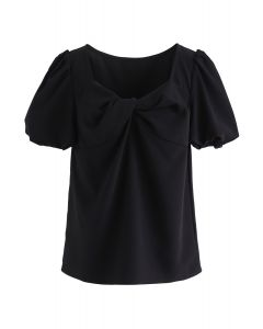 Bubble Sleeves Twisted Top in Black