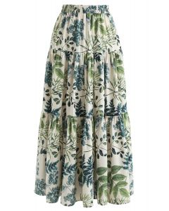 Natural Leaves Printed Linen-Blend Maxi Skirt