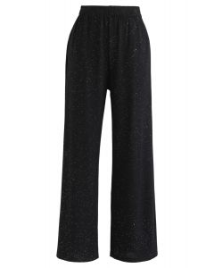 Sparkly Wide-Leg Full-Length Pants in Black