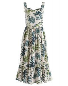 Natural Leaves Printed Linen-Blend Dress