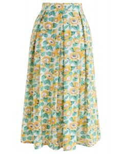 Sunflowers Print A-Line Midi Skirt