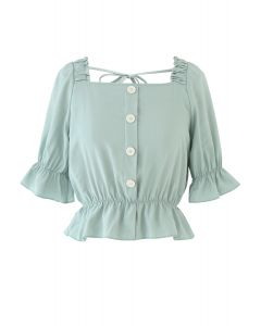 Button Embellished Square Neck Crop Top in Mint