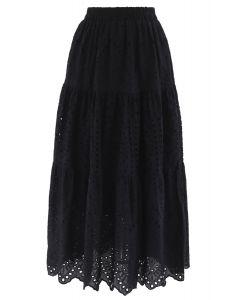 Frill Hem Broderie Cotton Midi Skirt in Black