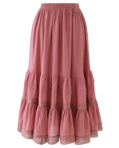 Pintuck Crochet Frill Hem Cotton Skirt in Coral
