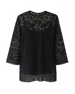 Three-Quarter Sleeves Full Lace Top in Black