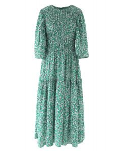 Richly Floret Dots Shirred Maxi Dress in Green