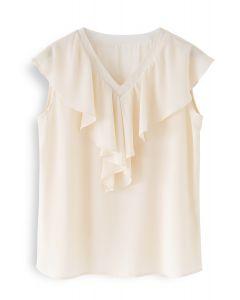 Drape V-Neck Sleeveless Chiffon Top in Cream