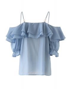 Tiered Ruffle Pearl Trim Cold-Shoulder Top in Blue