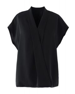 Satin Surplice Neck Sleeveless Loose Top in Black