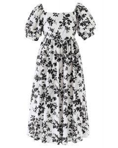 Foliage Print Open Back Midi Dress in Black