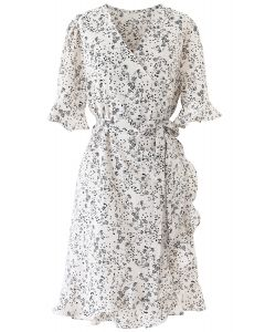 Ditsy Floral Bell Cuffs Wrap Midi Dress in Ivory